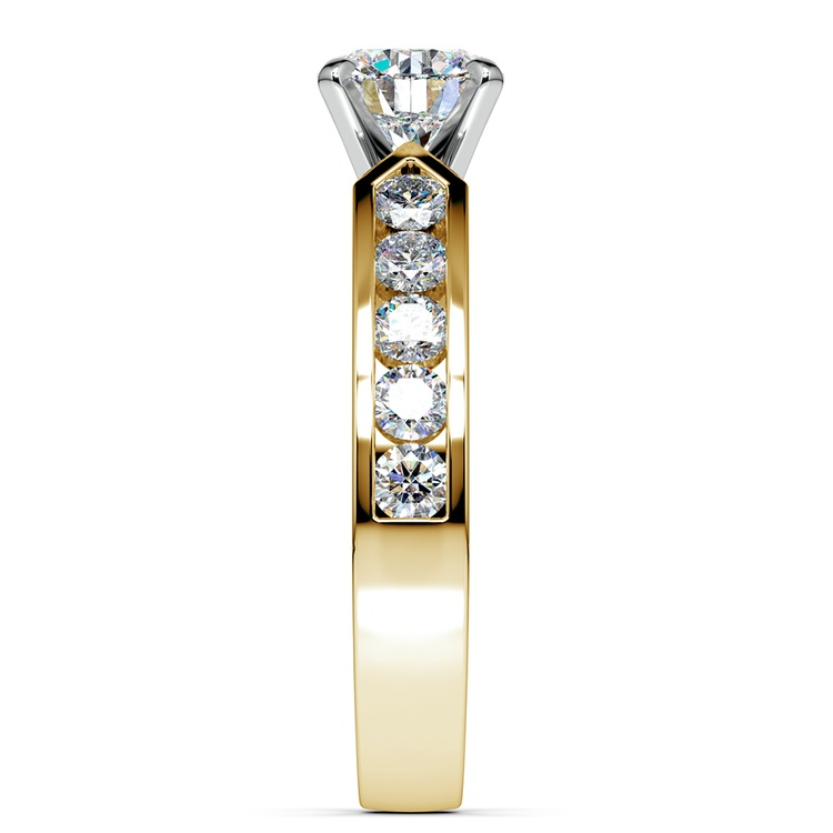 Channel Diamond Engagement Ring in Yellow Gold (3/4 ctw) | 03