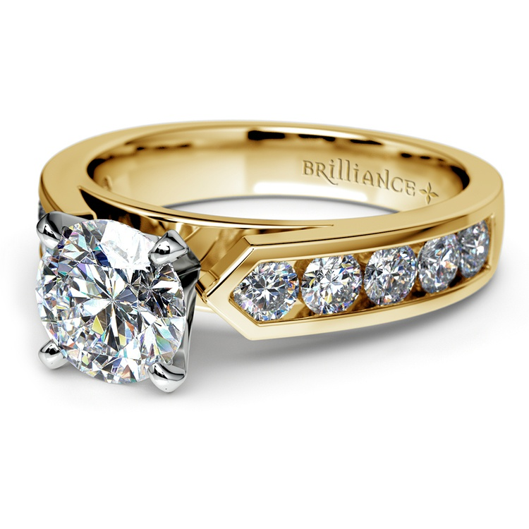 Channel Diamond Engagement Ring in Yellow Gold (3/4 ctw) | 04