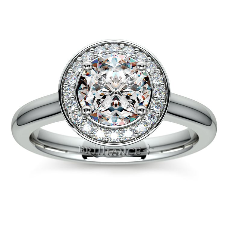 Halo Diamond Engagement Ring in White Gold (1/4 ctw) | 01