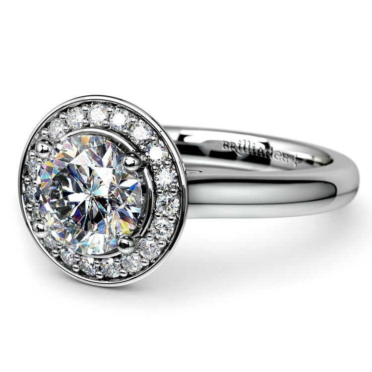 Halo Diamond Engagement Ring in White Gold (1/4 ctw) | 04