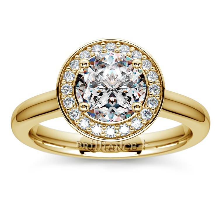 Halo Diamond Engagement Ring in Yellow Gold (1/4 ctw) | 01