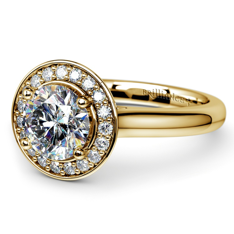 Halo Diamond Engagement Ring in Yellow Gold (1/4 ctw) | 04