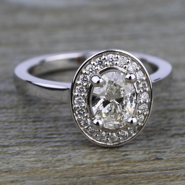 Halo Diamond Engagement Ring in White Gold (1/4 ctw) | 05
