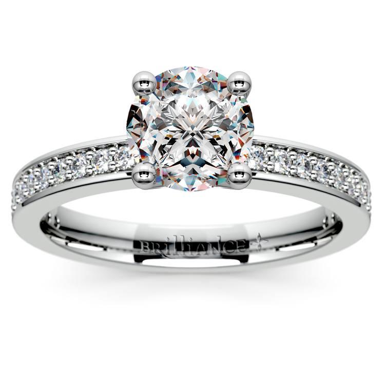 Pave Diamond Engagement Ring in Platinum (1/4 ctw)   01
