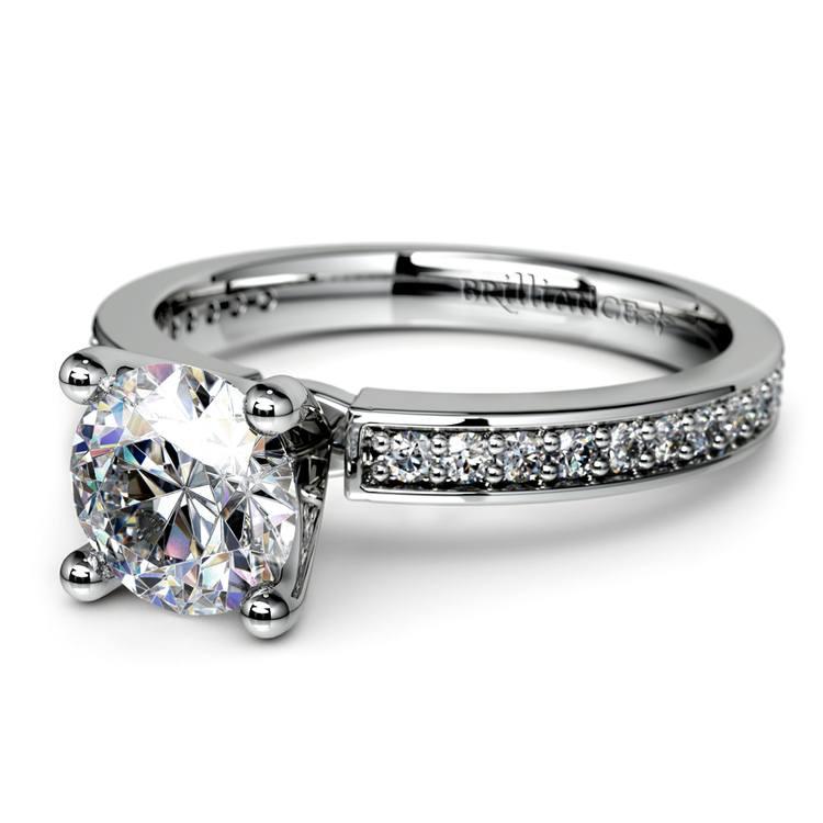 Pave Diamond Engagement Ring in Platinum (1/4 ctw)   04