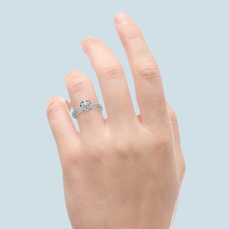 Pave Diamond Engagement Ring in Platinum (1/4 ctw)   06