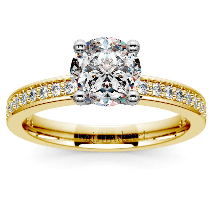 Pave Diamond Engagement Ring in Yellow Gold (1/4 ctw) | 01