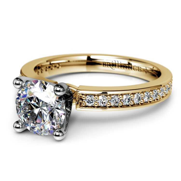 Pave Diamond Engagement Ring in Yellow Gold (1/4 ctw) | 04