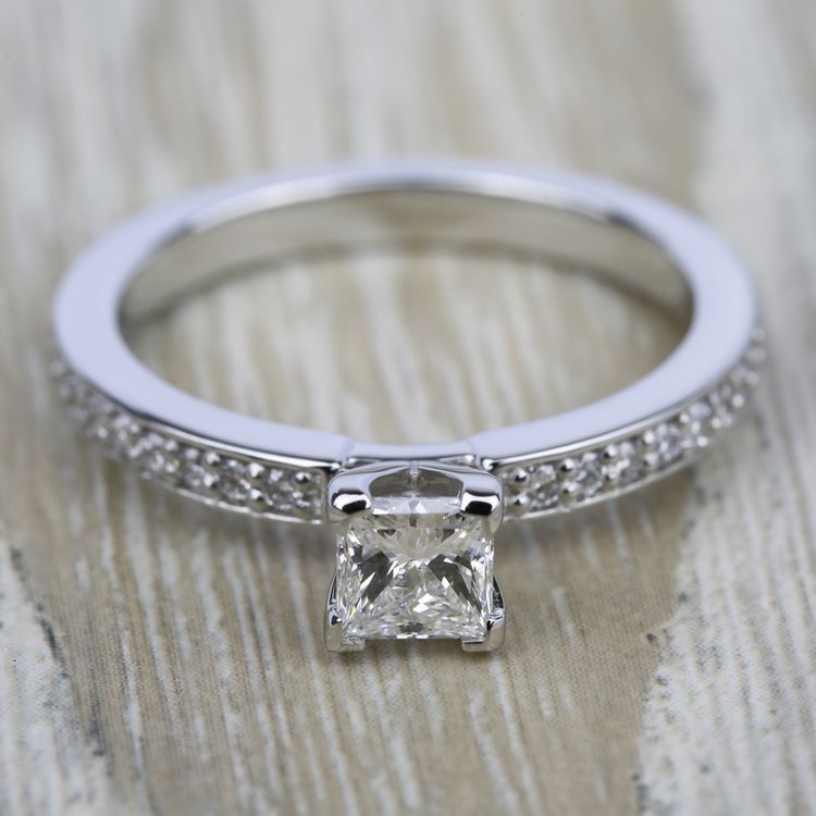Pave Diamond Engagement Ring in White Gold (1/4 ctw) | 05