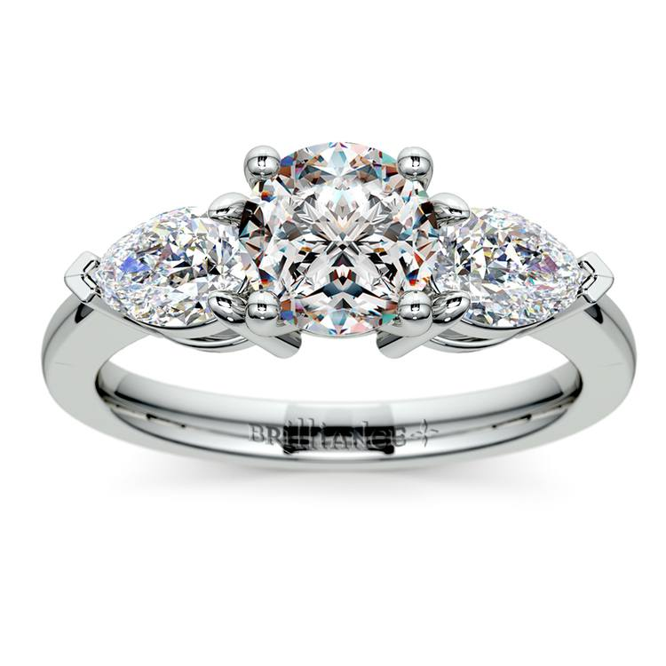 Pear Diamond Engagement Ring in White Gold (3/4 ctw) | 01