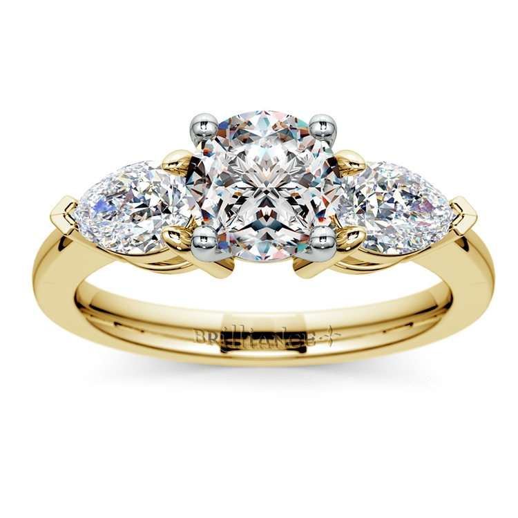 Pear Diamond Engagement Ring in Yellow Gold (3/4 ctw) | 01