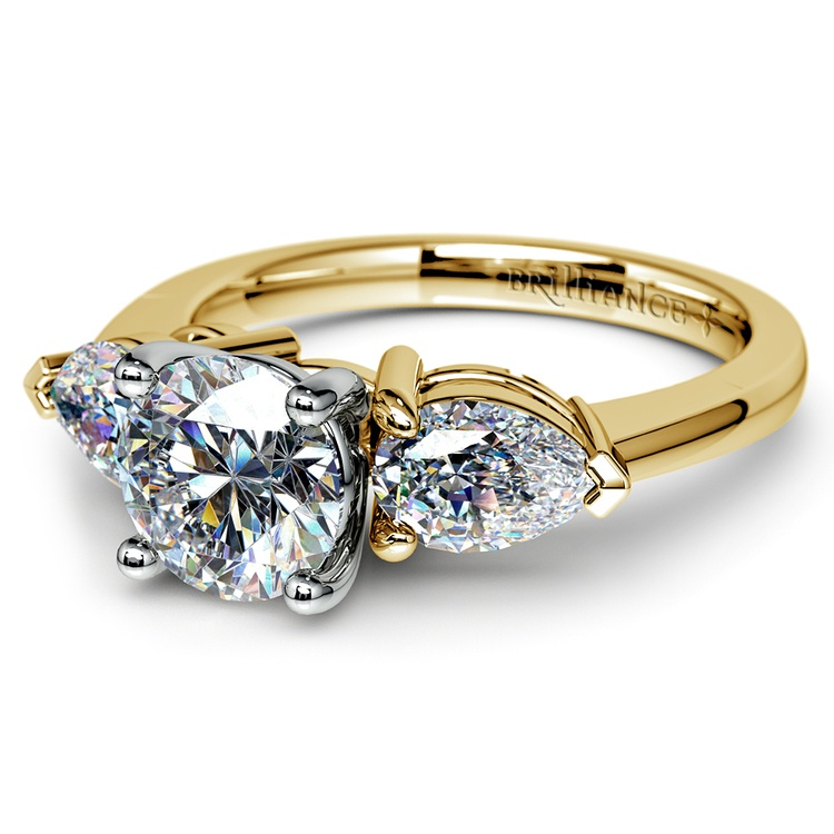 Pear Diamond Engagement Ring in Yellow Gold (3/4 ctw) | 04