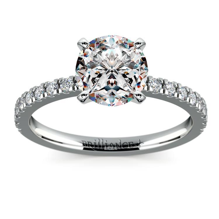 Petite Pave Diamond Engagement Ring in Platinum (1/4 ctw) | 01