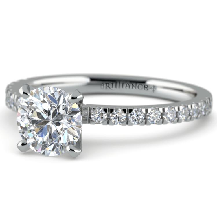 Petite Pave Diamond Engagement Ring in Platinum (1/4 ctw) | 04