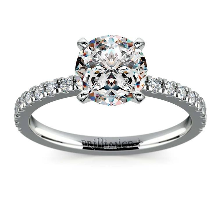 Petite Pave Diamond Engagement Ring in White Gold (1/4 ctw) | 01