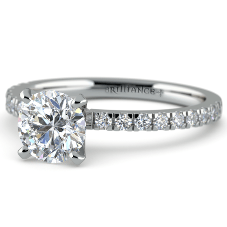 Petite Pave Diamond Engagement Ring in White Gold (1/4 ctw) | 04