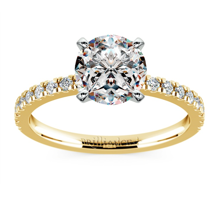 Petite Pave Diamond Engagement Ring in Yellow Gold (1/4 ctw) | 01