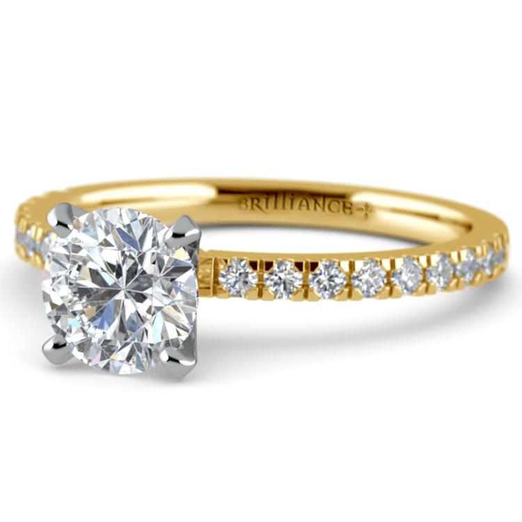 Petite Pave Diamond Engagement Ring in Yellow Gold (1/4 ctw) | 04