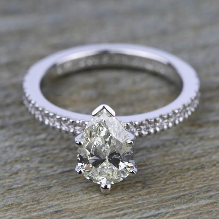 Petite Pave Diamond Engagement Ring in White Gold (1/4 ctw) | 05