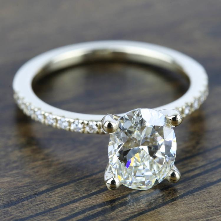 Petite Pave Diamond Engagement Ring in Yellow Gold (1/4 ctw) | 05