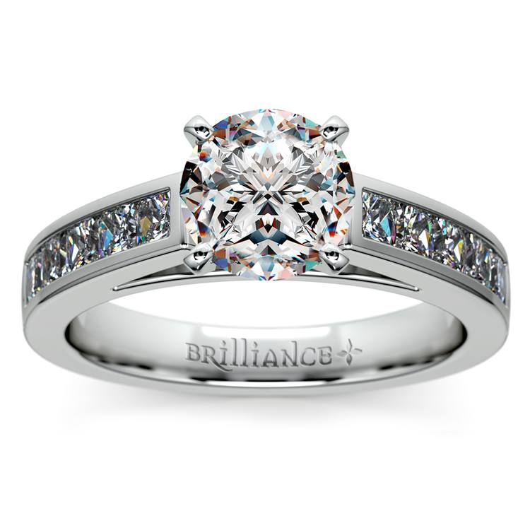 Princess Channel Diamond Engagement Ring in White Gold (3/4 ctw) | 01