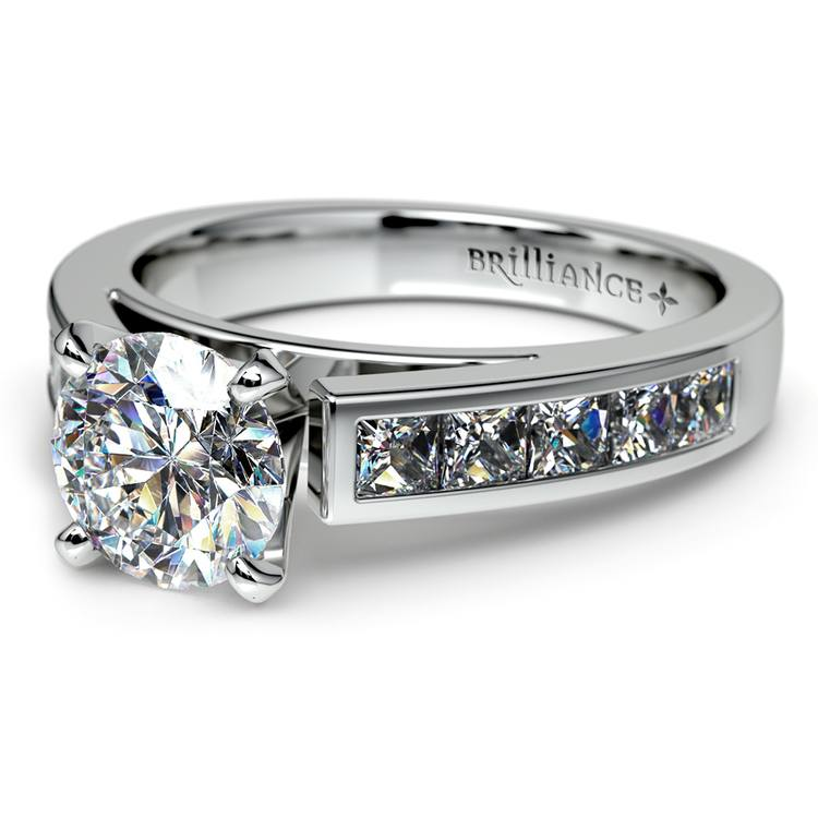 Princess Channel Diamond Engagement Ring in White Gold (3/4 ctw) | 04