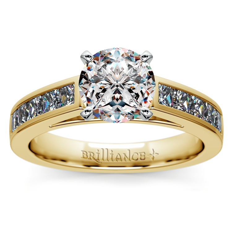 Princess Channel Diamond Engagement Ring in Yellow Gold (3/4 ctw) | 01