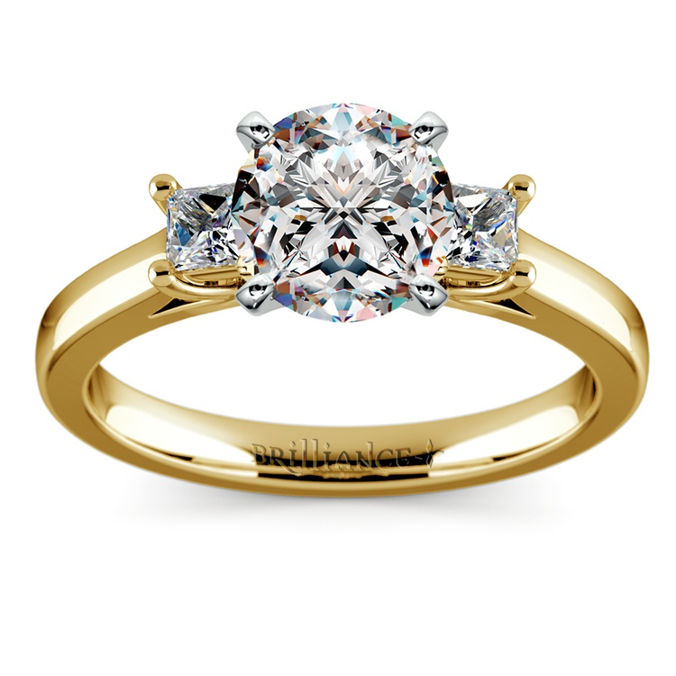 Princess Trellis Diamond Engagement Ring in Yellow Gold (1/4 ctw) | 01