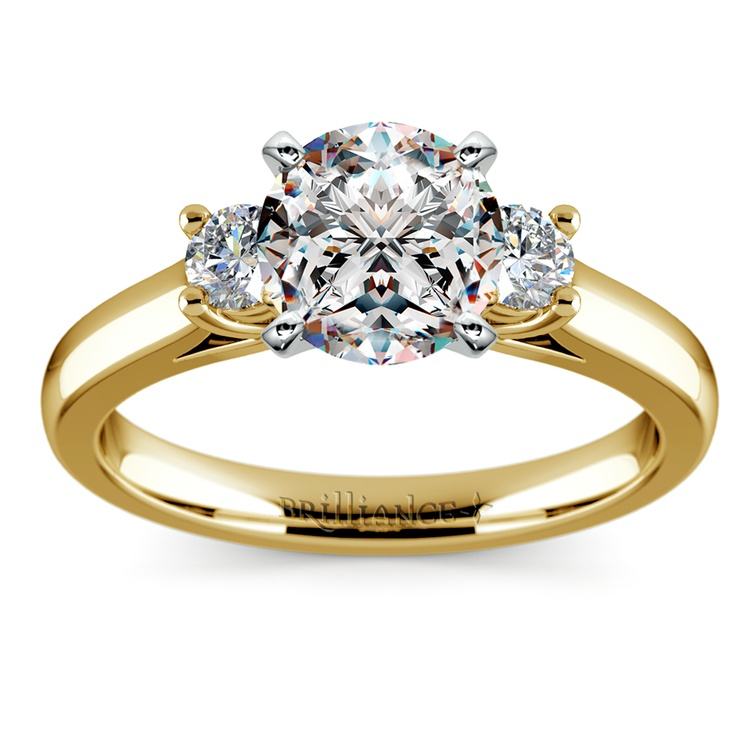 Round Diamond Engagement Ring in Yellow Gold (1/4 ctw) | 01