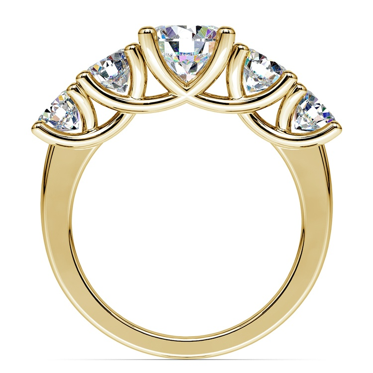Trellis Five Diamond Engagement Ring in Yellow Gold (3/4 ctw) | 02