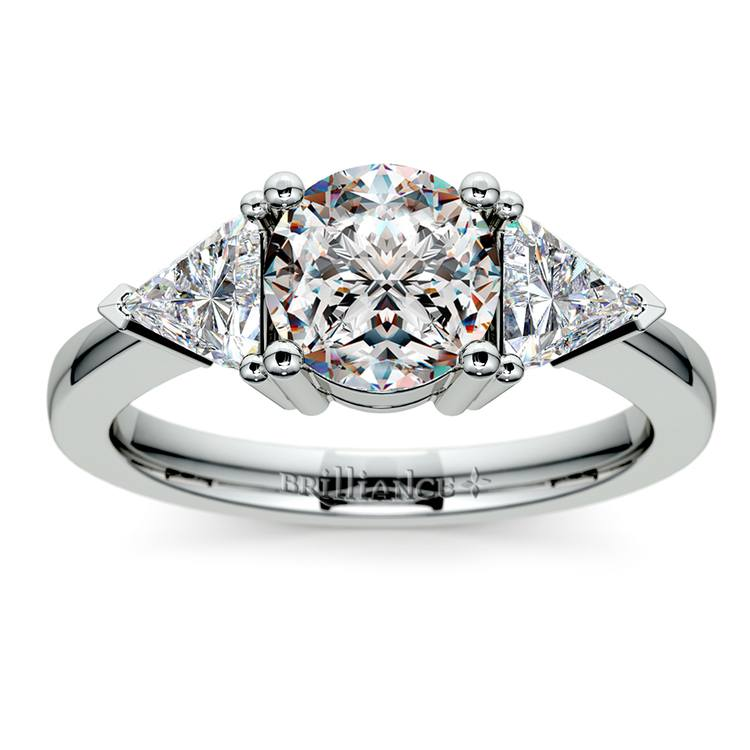 Trillion Diamond Engagement Ring in White Gold (3/4 ctw) | 01