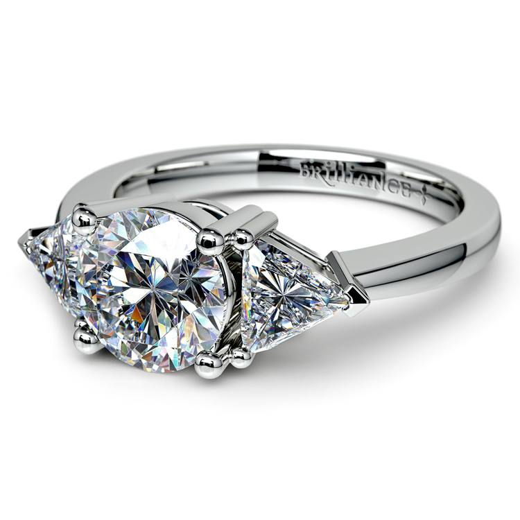 Trillion Diamond Engagement Ring in White Gold (3/4 ctw) | 04