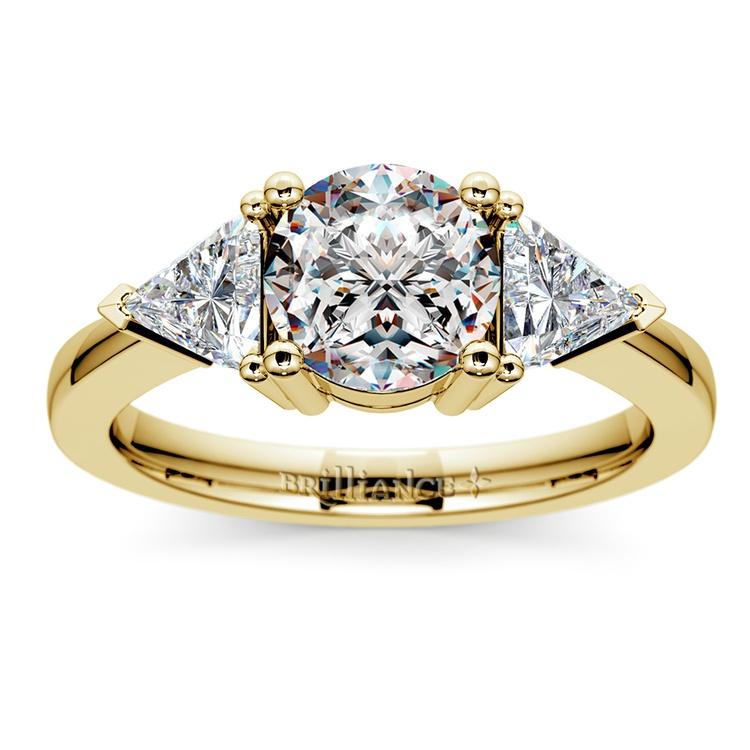 Trillion Diamond Engagement Ring in Yellow Gold (3/4 ctw) | 01