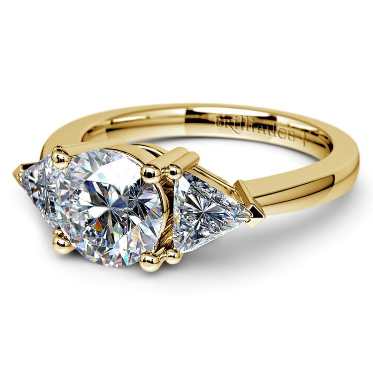 Trillion Diamond Engagement Ring in Yellow Gold (3/4 ctw) | 04