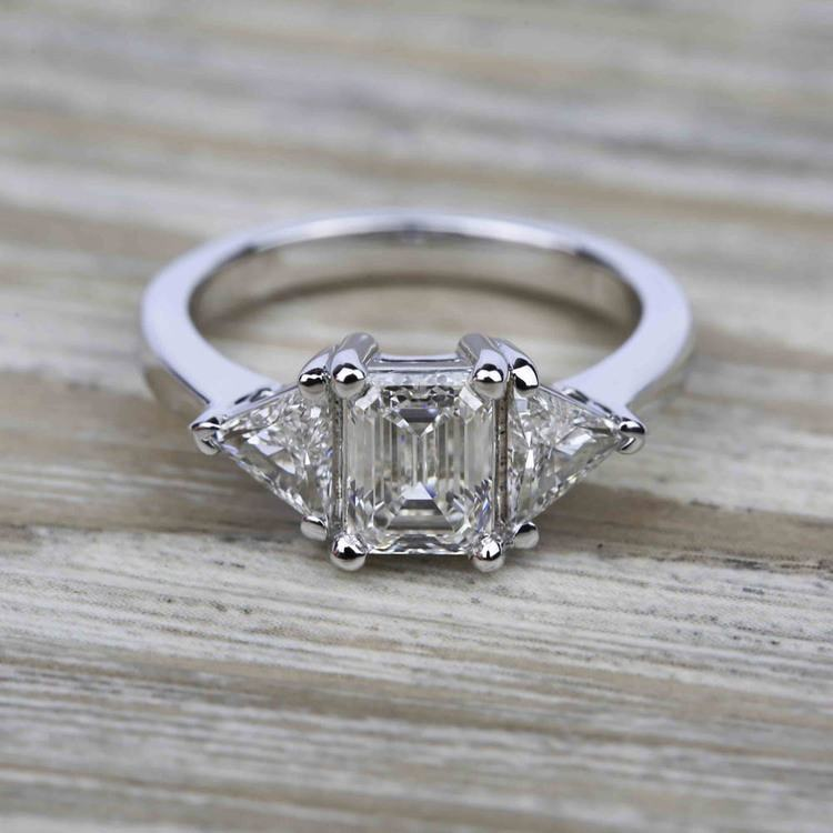 Trillion Diamond Engagement Ring in White Gold (3/4 ctw) | 05