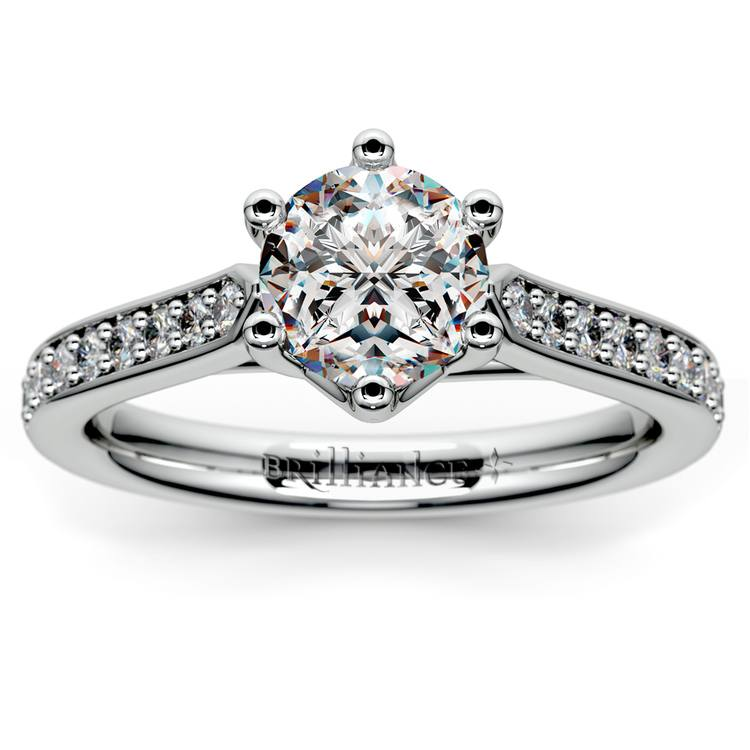 Tulip Pave Diamond Engagement Ring in White Gold (1/4 ctw) | 01