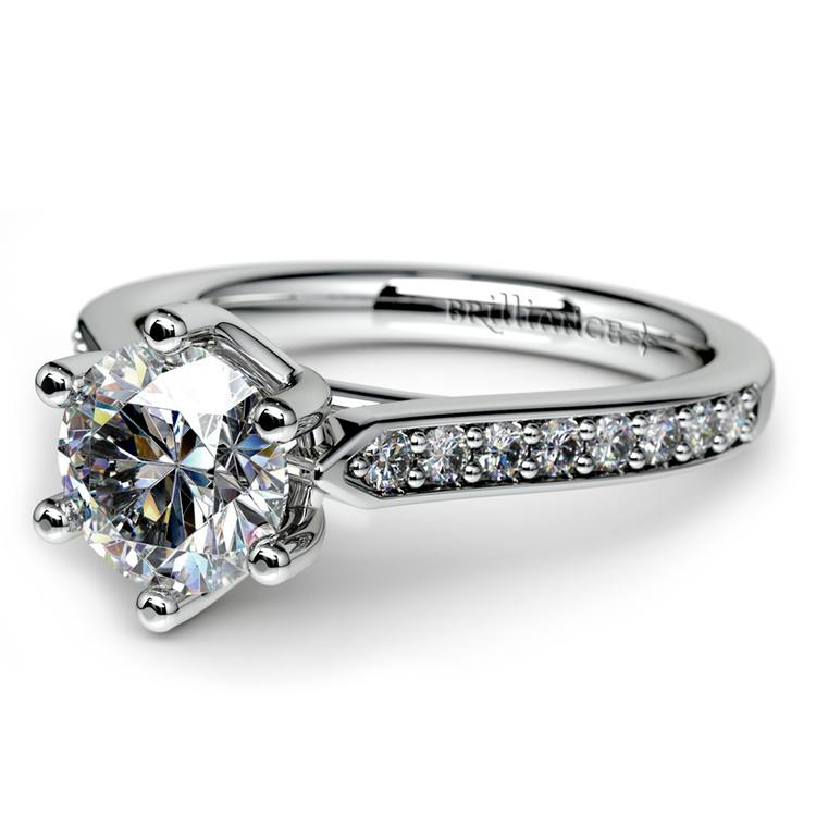 Tulip Pave Diamond Engagement Ring in White Gold (1/4 ctw) | 04