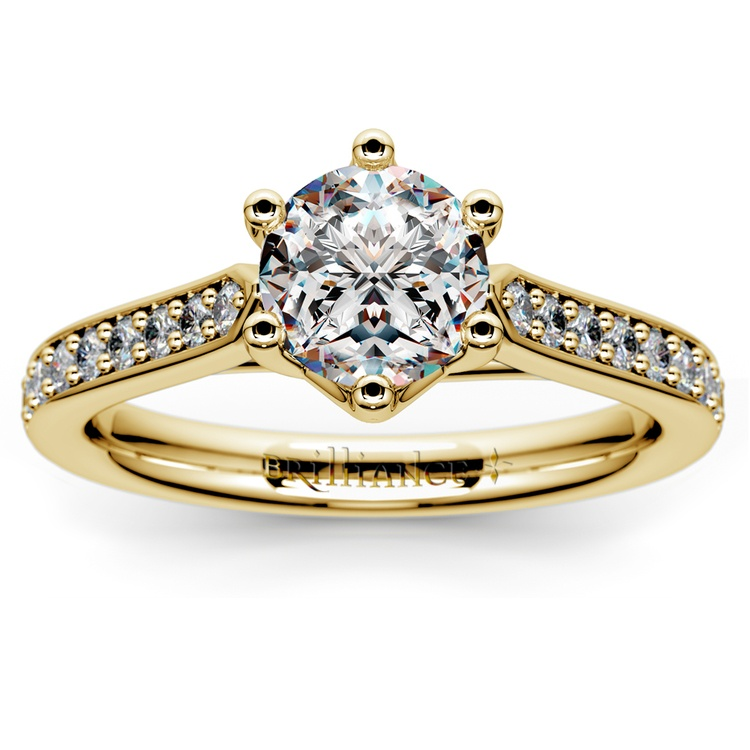 Tulip Pave Diamond Engagement Ring in Yellow Gold (1/4 ctw) | 01