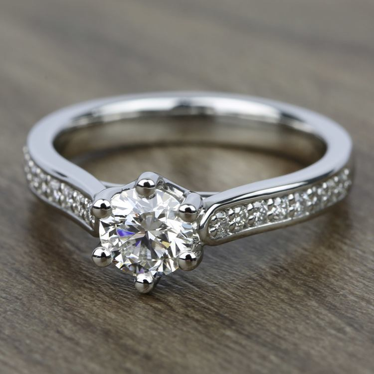 Tulip Pave Diamond Engagement Ring in Palladium (1/4 ctw) | 05