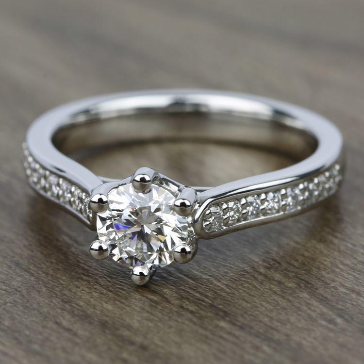 Tulip Pave Diamond Engagement Ring in Platinum (1/4 ctw)    05
