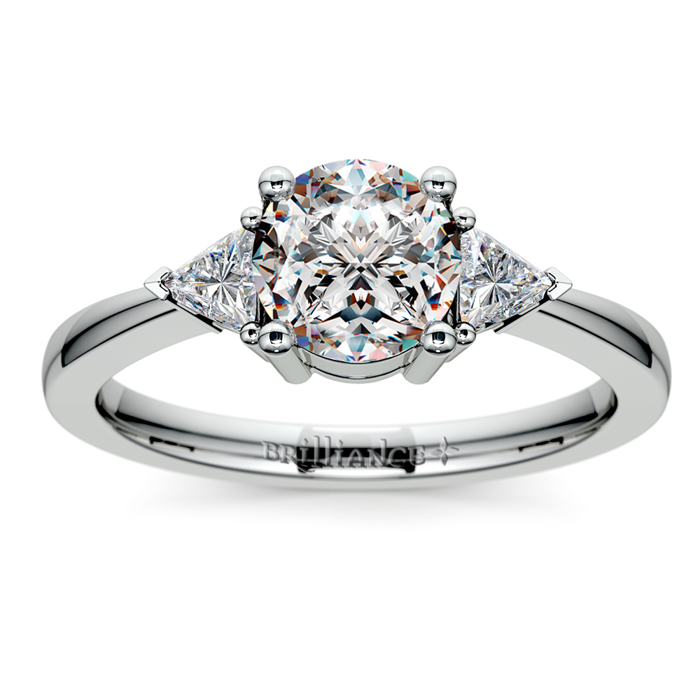 Trillion Diamond Engagement Ring In White Gold 1 4 Ctw