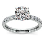 Petite Pave Diamond Engagement Ring in White Gold | Thumbnail 01