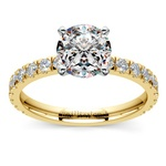 Petite Pave Diamond Engagement Ring in Yellow Gold | Thumbnail 01