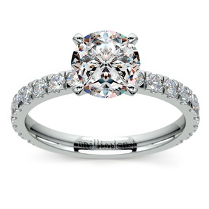 Petite Pave Diamond Engagement Ring in White Gold