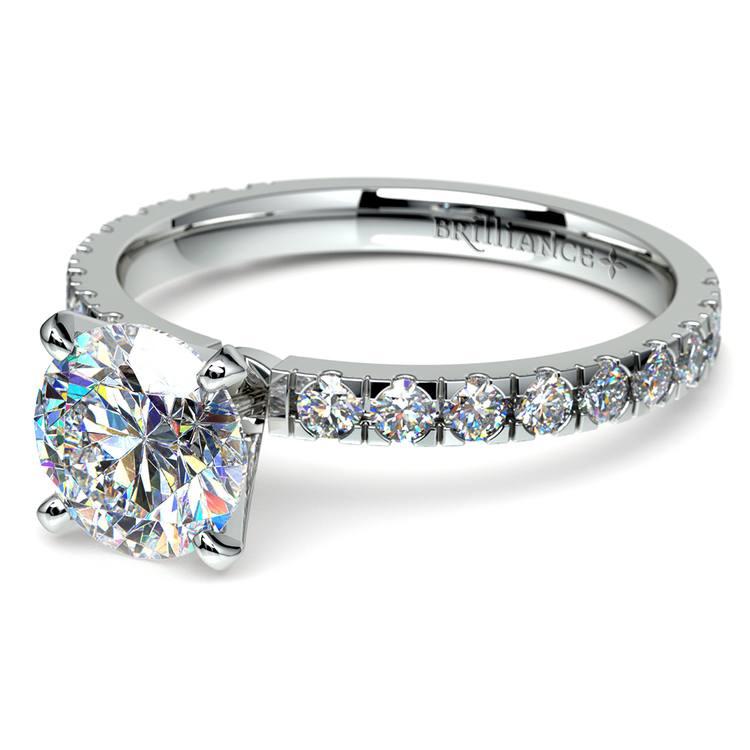 Petite Pave Diamond Engagement Ring in Palladium | 04