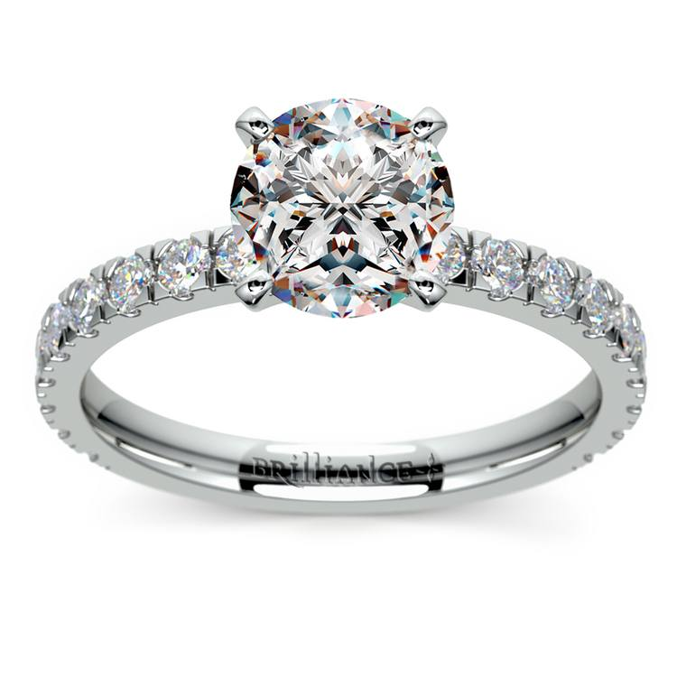 Petite Pave Diamond Engagement Ring in White Gold | 01