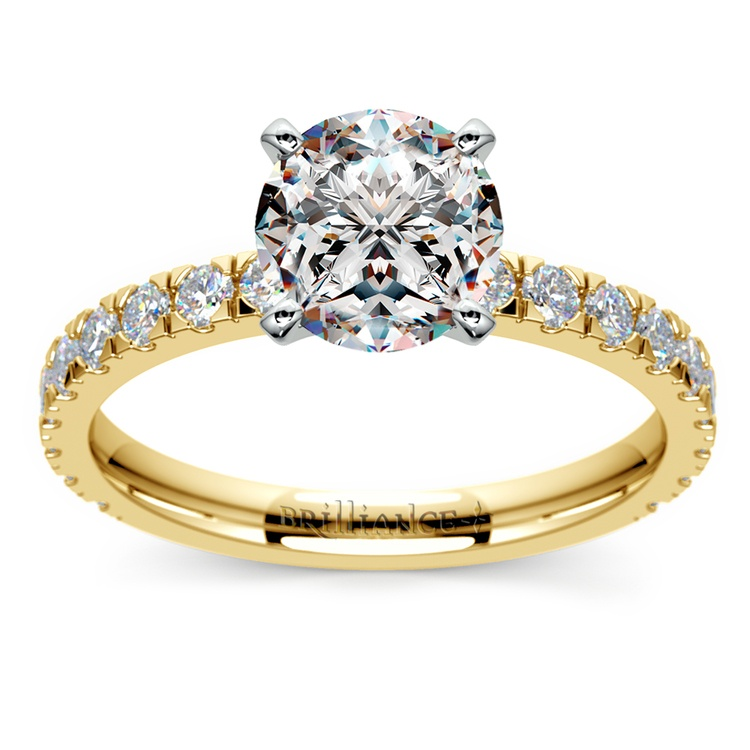 Petite Pave Diamond Engagement Ring in Yellow Gold | 01