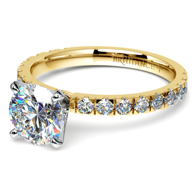 Petite Pave Diamond Engagement Ring in Yellow Gold | 04
