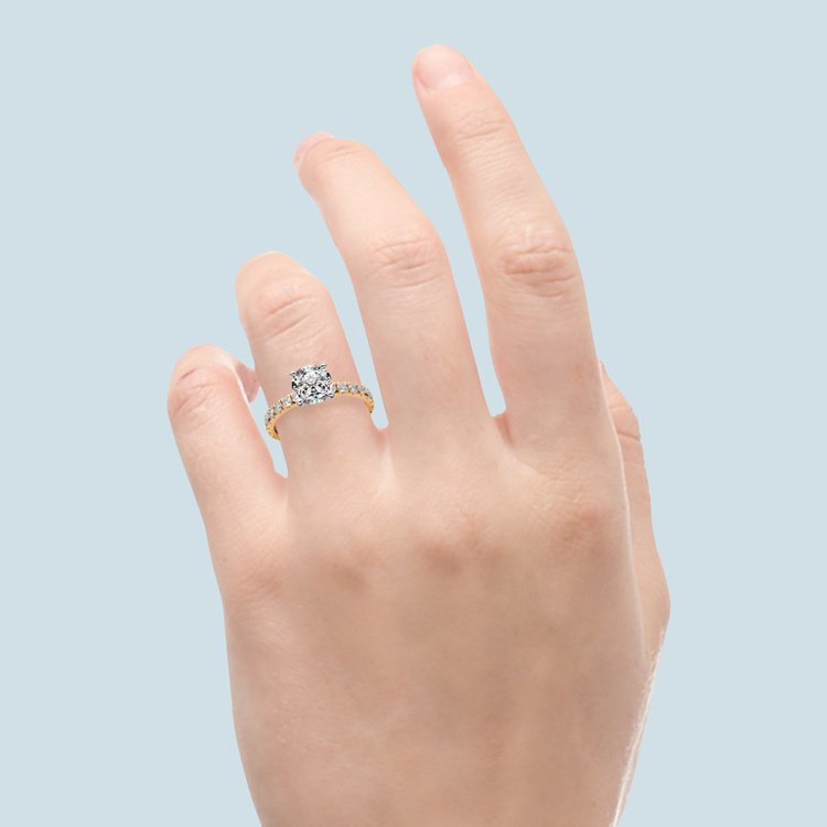 Petite Pave Diamond Engagement Ring in Yellow Gold | 05