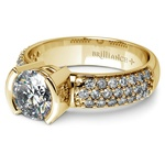 Half Bezel Diamond Engagement Ring in Yellow Gold (3/8 ctw)  | Thumbnail 04